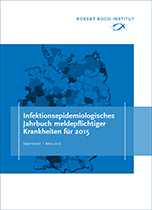 Cover: Epidemiological Yearbook of Notifiable Infectious Diseases 2015 - German print edition. Source: RKI