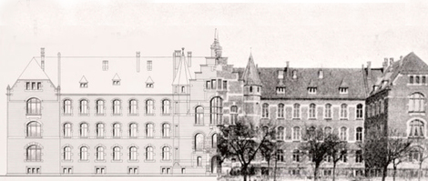 Relocation to the new institute building on the Nordufer in Berlin-Wedding in 1900,  headquarters of the Robert Koch Institute to this day. Source: RKI