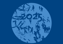 "A Crowd walking and microorganisms under a magnifying lens, showing ""2025"" Source: RKI"