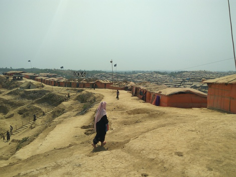View of the Jamtoli refugee camp in Ukhia on the way to interviewing a suspected cholera case. (Source: Stefanie Böhm/RKI)