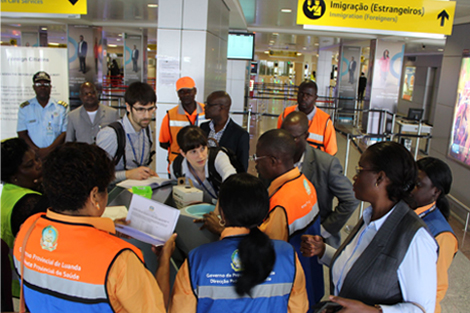 The European Medical Corps' public health team at the airport of Luanda, the capital of Angola. Source: © Laurent Defrance