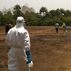 Aid workers are lead into the bush where the bags of clothing from a deceased Ebola patient have been stashed. Source: Maja George/RKI.