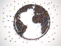 Many people together around the world. 3D Rendering  © alphaspirit