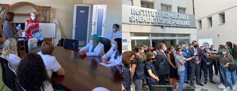 Left: Training for COVID-19 respiratory therapy; Right: Press statements in front of the National Institute of Public Health of Kosovo, Pristina (Source: RKI)