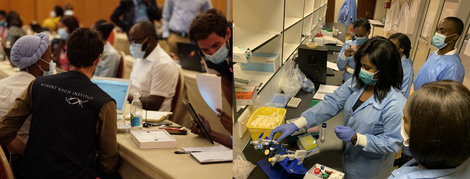 Left: Go.Data training of Public Health professionals from regional and national level in Windhoek, 26 October 2020; Right: SARS-CoV-2 serology workshop with laboratory technicians in Windhoek, 28 October 2020 (Source: RKI)