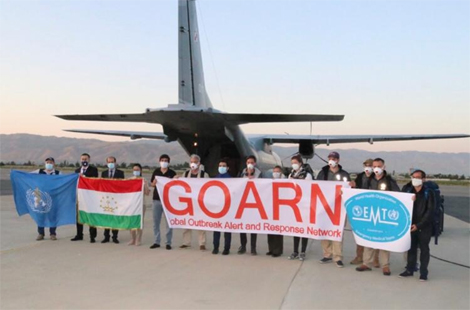 Arrival of GOARN experts in Dushanbe, Tajikistan. Picture copyright World Health Organization.